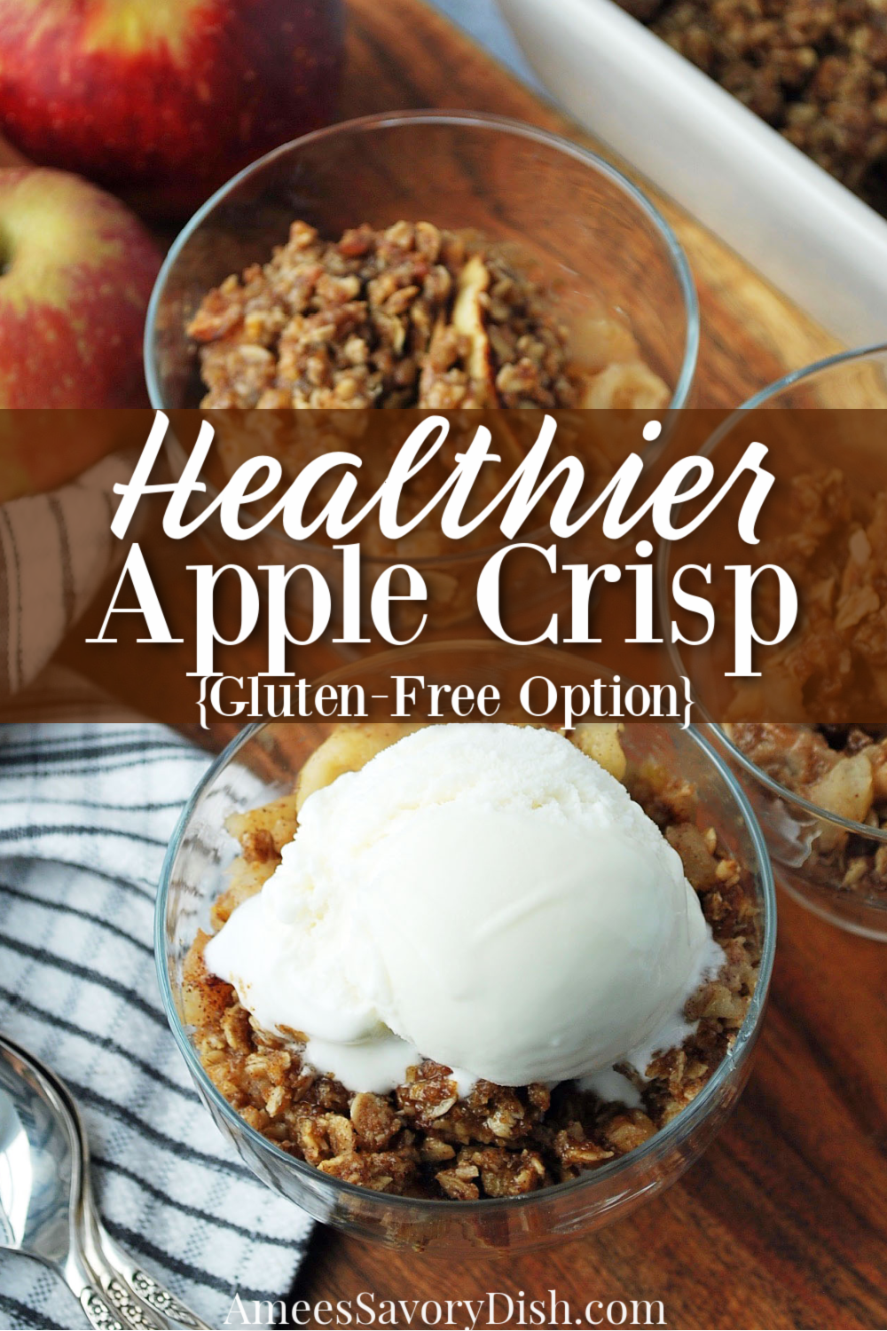 This healthier apple crisp recipe is a lightened-up version of a favorite classic fall dessert using whole grains and coconut sugar, and just as amazing as the original version! #applecrisp #healthierapplecrisp #falldesserts #healthierdesserts #apples via @Ameessavorydish