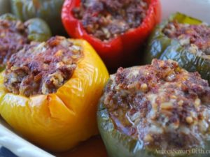 This healthier stuffed bell peppers recipe uses whole grain brown rice and lean ground beef (90% or less) and makes a nutritious family meal that everyone will enjoy.