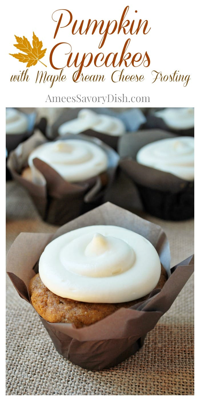 Amazing Pumpkin Cupcakes with Maple Cream Cheese Frosting