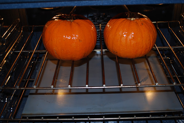 whole pie pumpkins in oven