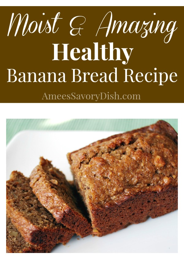 A moist and amazing healthy banana bread recipe made with fruit puree, whole grain flour and coconut sugar.