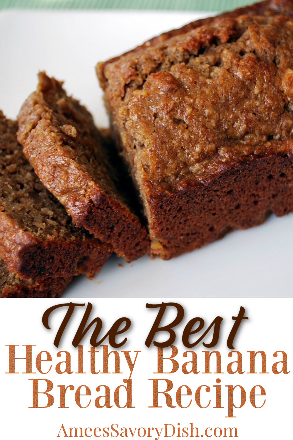 A healthier banana bread recipe that uses fruit puree, whole wheat flour, and coconut sugar and turns out moist and delicious! #healthybananabread #bananabread via @Ameessavorydish