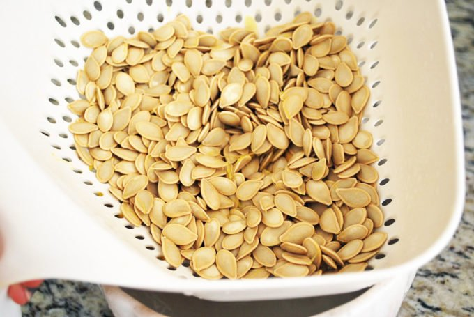 fresh pumpkin seeds from roasted pumpkins