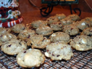 A holiday favorite recipe for cranberry oatmeal cookies made with white chocolate chips, oats, cranberries, pecans and whole grain flour.