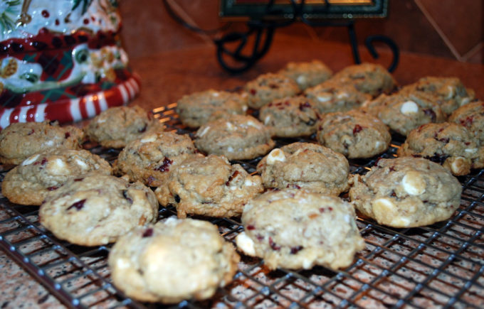 Cranberry Hootycreeks make a festive holiday cookie recipe made with rolled oats, white chocolate chips, dried cranberries and pecans.