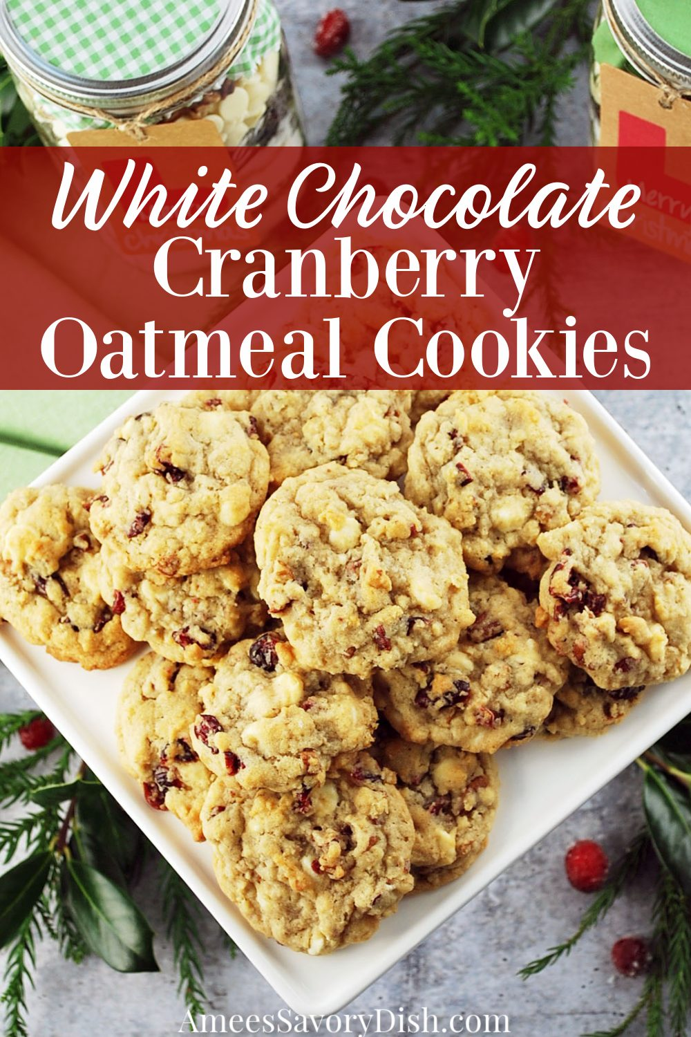White Chocolate Cranberry Oatmeal Cookies (aka Cranberry Hootycreeks) make a festive holiday cookie recipe made with rolled oats, white chocolate chips, dried cranberries, and pecans. #jarcookierecipe #whitechocolatecookies #chrismtascookies #masonjarcookies #cookierecipe via @Ameessavorydish