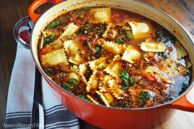 I love this hearty and flavorful Italian Sausage and Ravioli Soup soup during the cold winter months. It's the perfect bowl of comfort food.