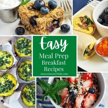 collage photo of breakfast recipes including baked oats, breakfast burritos, egg muffins, and a quinoa bowl