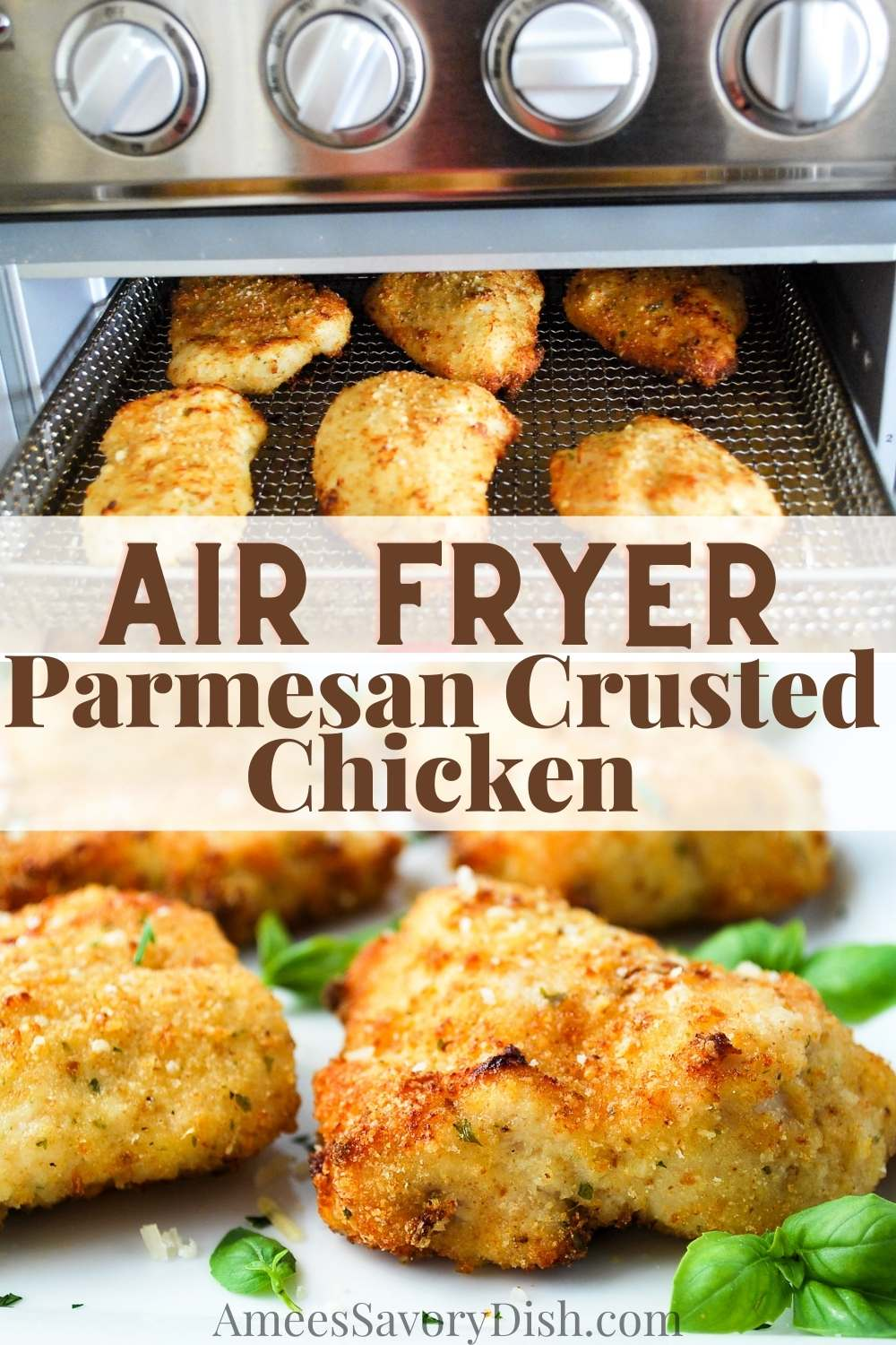 Air Fryer Parmesan Crusted Chicken is an easy recipe for tender, juicy chicken breasts coated in a crisp layer of breadcrumbs and parmesan that can be made in 20 minutes or less! via @Ameessavorydish