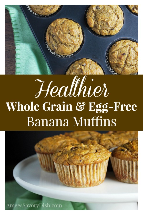 This DELICIOUS recipe for healthier whole grain banana muffins is egg free and super moist.