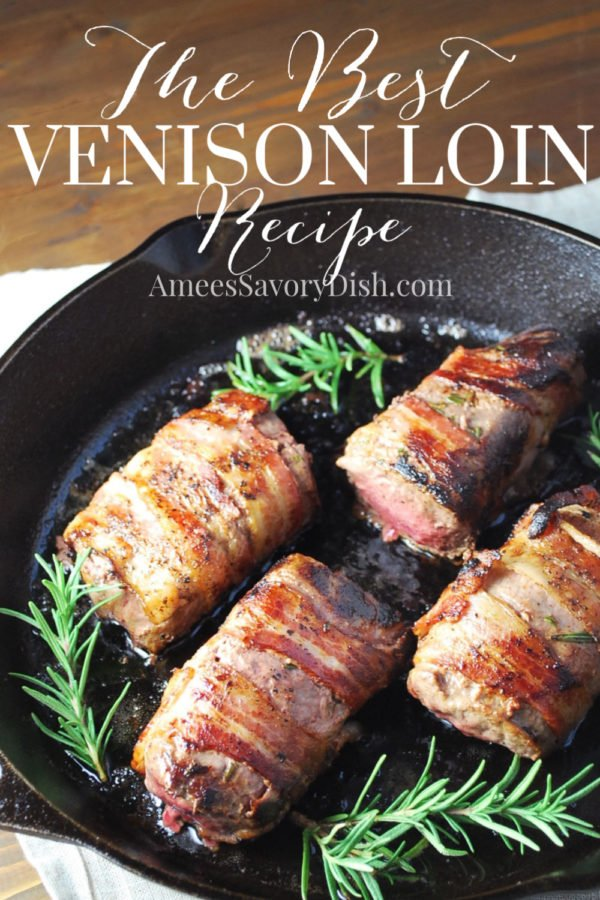 A mouthwatering recipe for bacon-wrapped venison loin soaked overnight in an herb-infused milk bath then wrapped in applewood bacon and seared in a cast-iron skillet topped with a warm raspberry sauce. via @Ameessavorydish