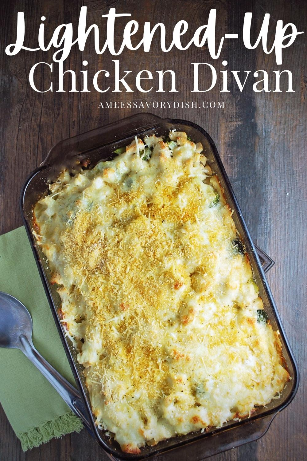 A healthier recipe for lightened-up chicken divan that's sure to please the pickiest palate made with white cheddar, chicken, and broccoli. #chickendivan #chickencasseroles #chickenrecipes #easychickendinners #chicken via @Ameessavorydish