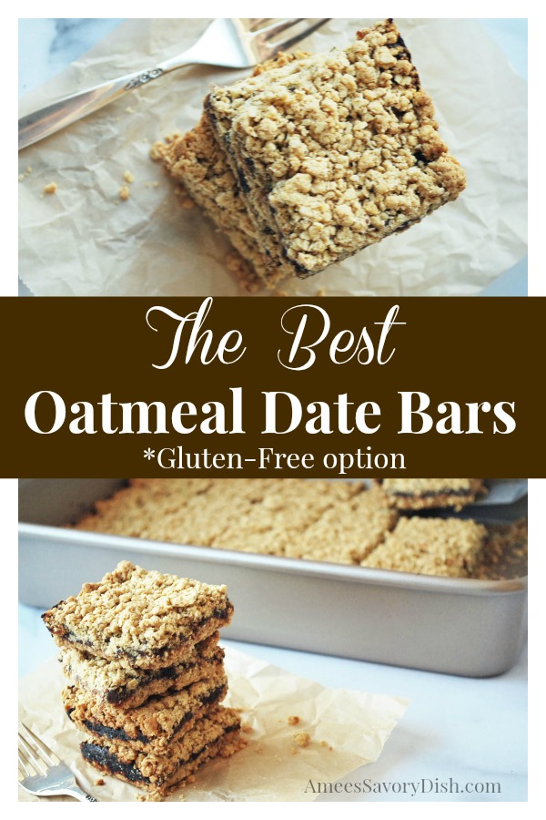 These amazing oatmeal date bars are moist and delicious made with whole oats, flour, dates, butter and fresh orange zest with a gluten-free recipe option. via @Ameecooks