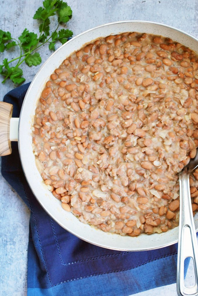 Homemade pinto beans for a delicious side dish or easy Mexican burritos