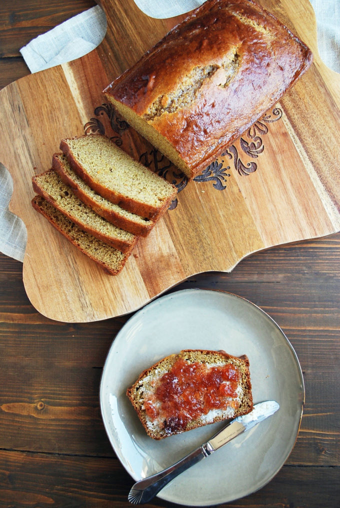 Soft graham artisan bread with butter and jam