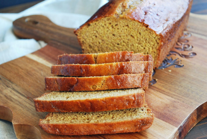 soft graham bread sliced on a cutting board