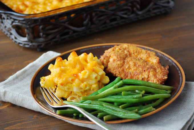 Lightened-Up Southern Macaroni and Cheese served with chicken and green beans