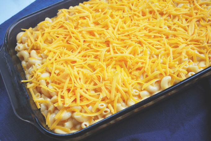 Lightened-Up Southern Macaroni and Cheese ready to bake in the oven