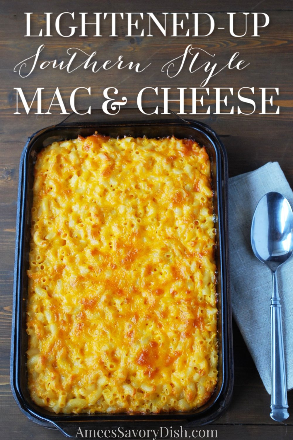 A delicious lightened-up version of decadent southern macaroni and cheese! #southerneats #southernmacandcheese #macaroniandcheese via @Ameecooks