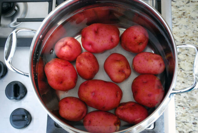 Red potatoes ready to boil for potato salad