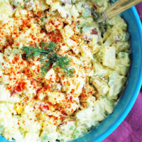 homemade potato salad with olives