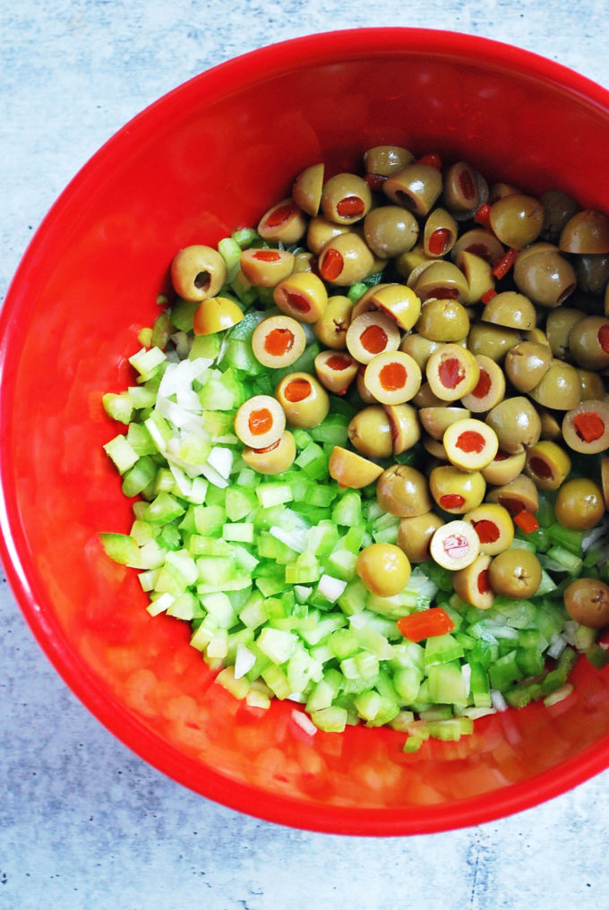 Chopped vegetables and olives for southern potato salad
