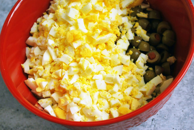 chopped egg for southern potato salad
