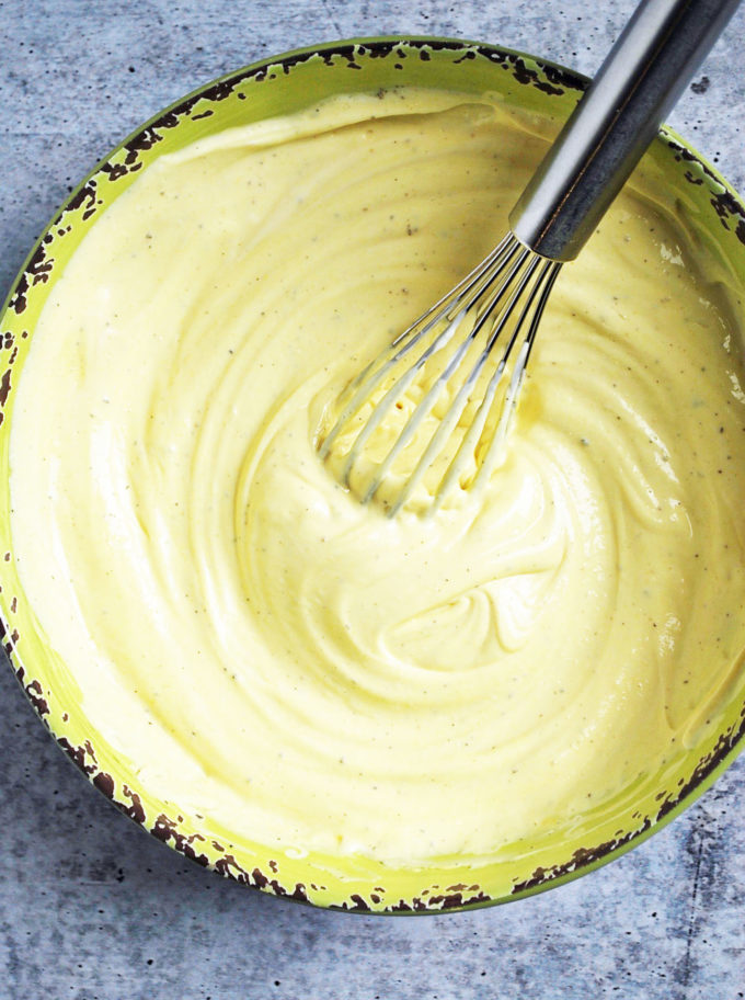 Whisked dressing for southern potato salad