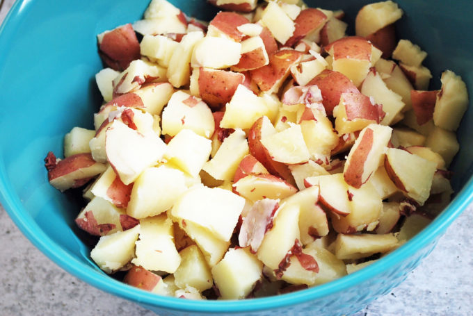 Cubed potatoes for potato salad