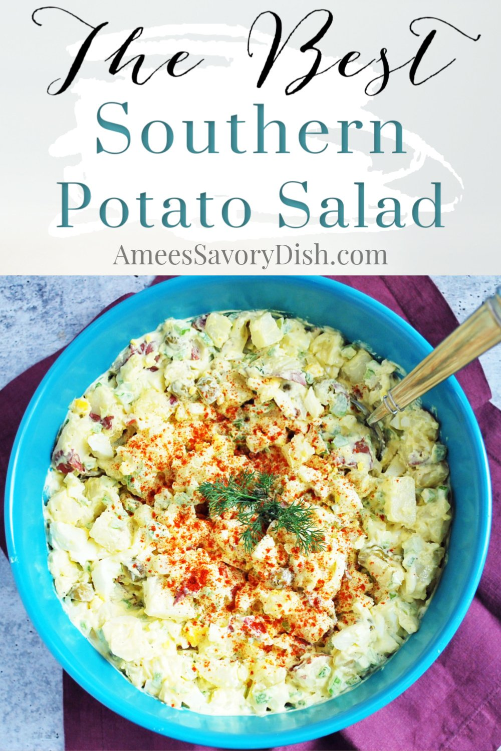 This is a family favorite recipe and hands-down, the best southern potato salad around! A special added ingredient gives it so much flavor! #southernrecipe #southernpotatosalad #potatosalad via @Ameessavorydish