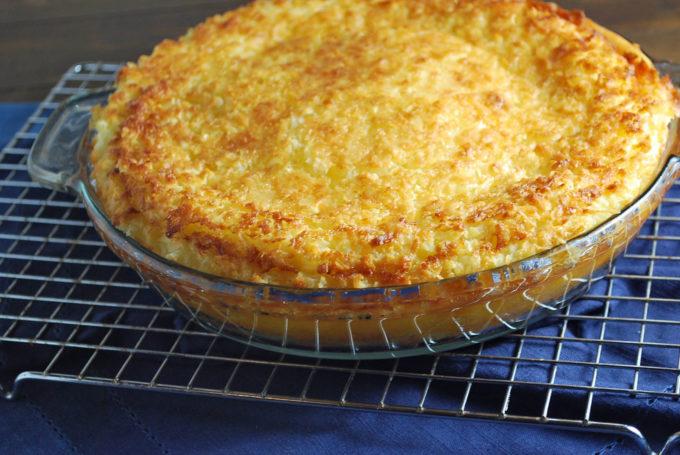 Freshly baked crustless coconut pie