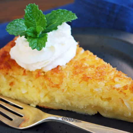 a slice of crustless coconut pie
