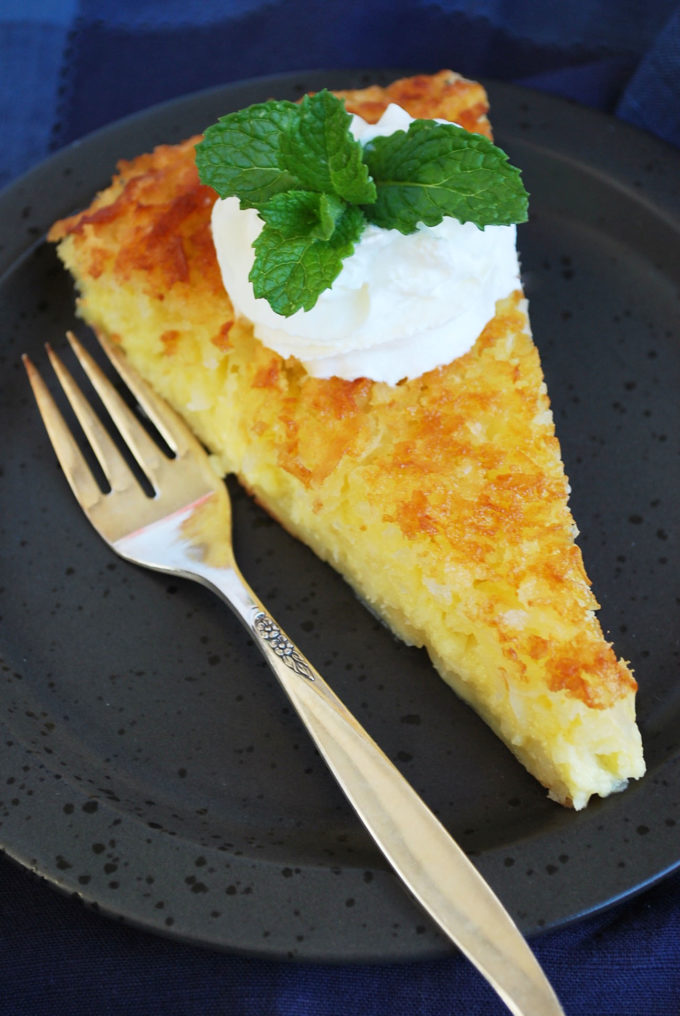 a slice of Easy Crustless Coconut Pie {aka Impossible Pie}