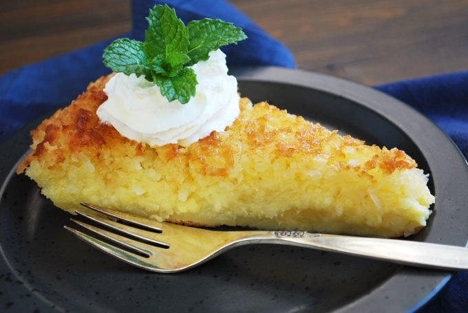 Crustless Coconut Pie slice
