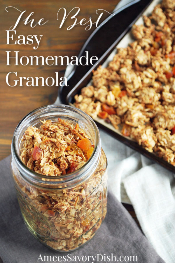 A delicious and easy homemade granola recipe made with whole grain oats, almonds, apricots, unsweetened coconut, and golden raisins.  #granola #cereal via @Ameessavorydish