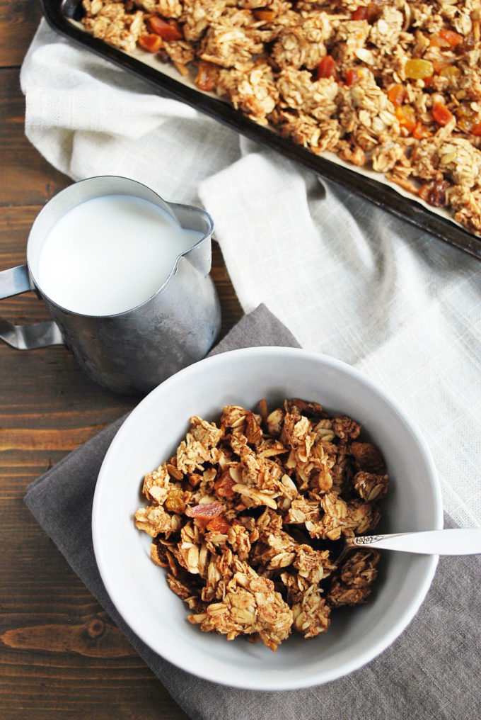 Easy homemade granola cereal with milk