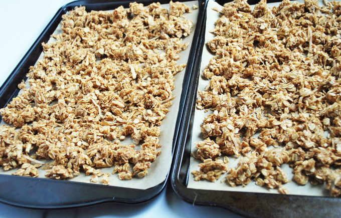 Easy homemade granola recipe on sheet pans ready to bake