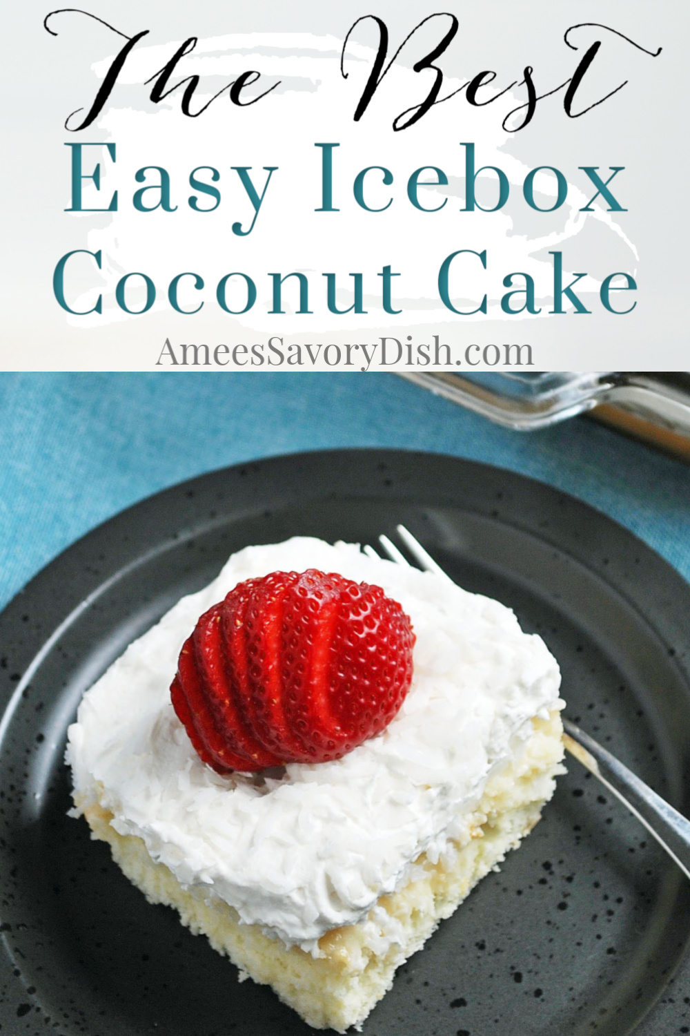 My mother has been making this icebox coconut cake recipe for years.  It brings back special memories from my childhood.  It's a quick and easy cake recipe made with boxed white cake mix, frozen coconut, whole milk, sugar, eggs, vanilla, and frozen whipped topping. #coconutcake #iceboxcake #easycoconutcake via @Ameecooks