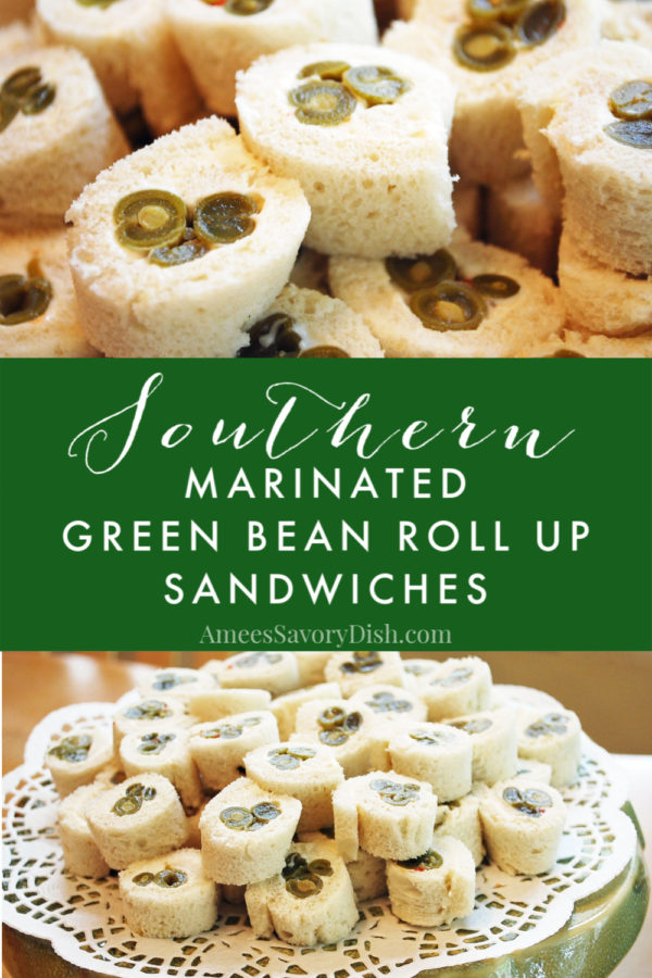 Green bean roll-ups are an easy and tasty southern party appetizer made with marinated green beans and cream cheese. via @Ameessavorydish