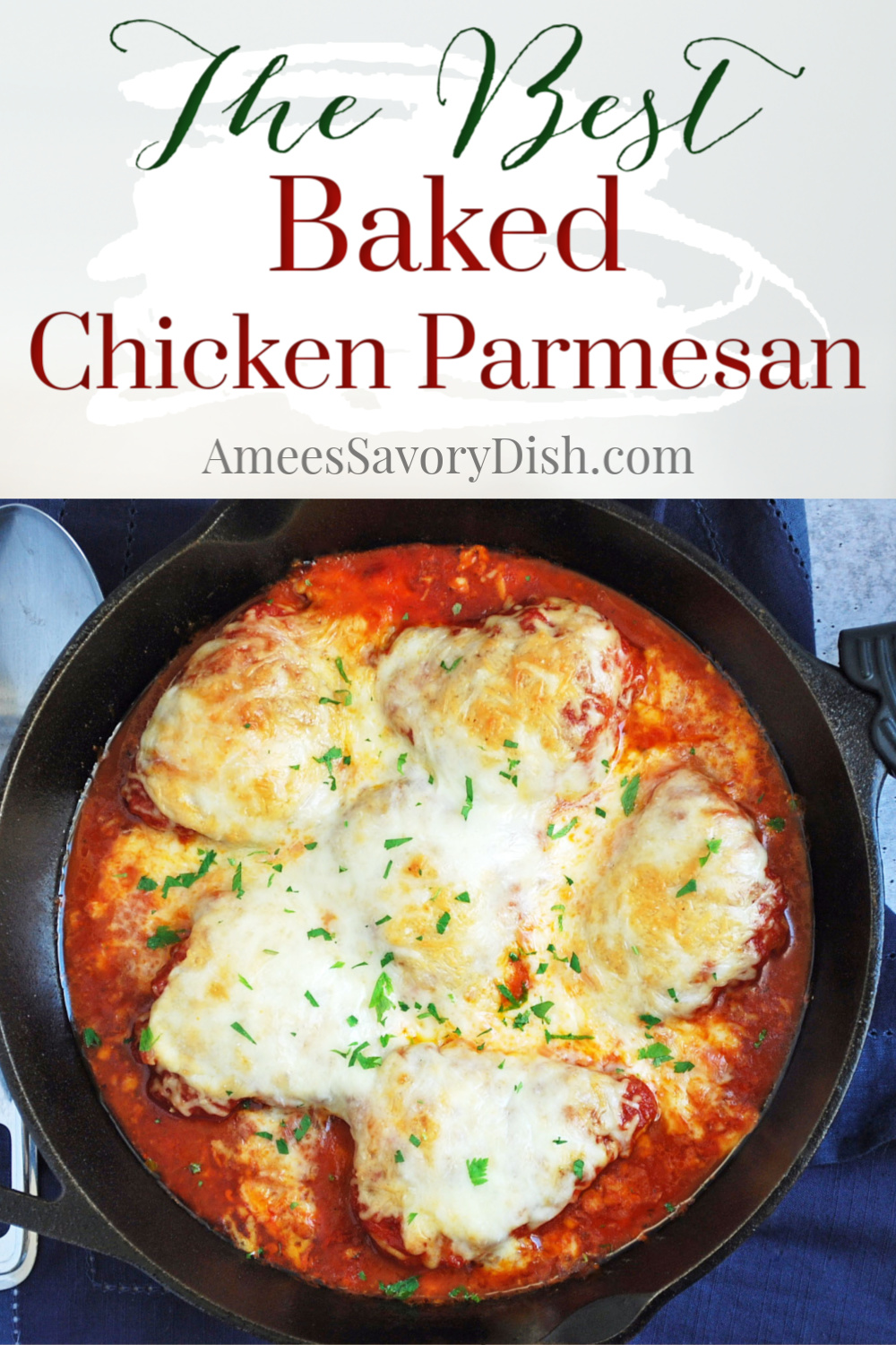 This easy healthier baked chicken parmesan makes a tasty, kid-friendly weeknight meal that doesn't take a lot of time to prepare. #bakedchickenparmesan #chickenparmesan #easychickenrecipe via @Ameessavorydish