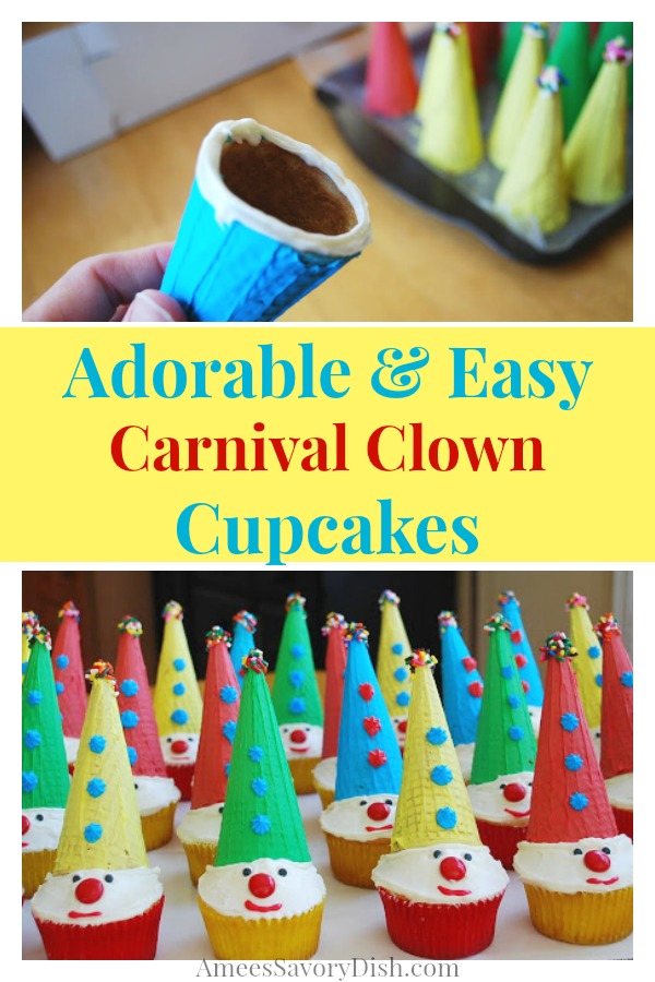 Collage photo of making the cones for clown cupcakes and clown cupcakes on a tray