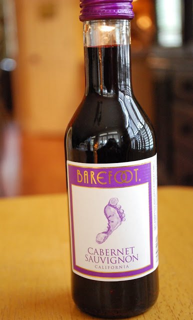 a bottle of Barefoot Cabernet Saugivnon wine