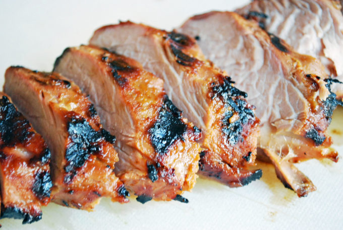 Bourbon pork tenderloin sliced and ready to eat