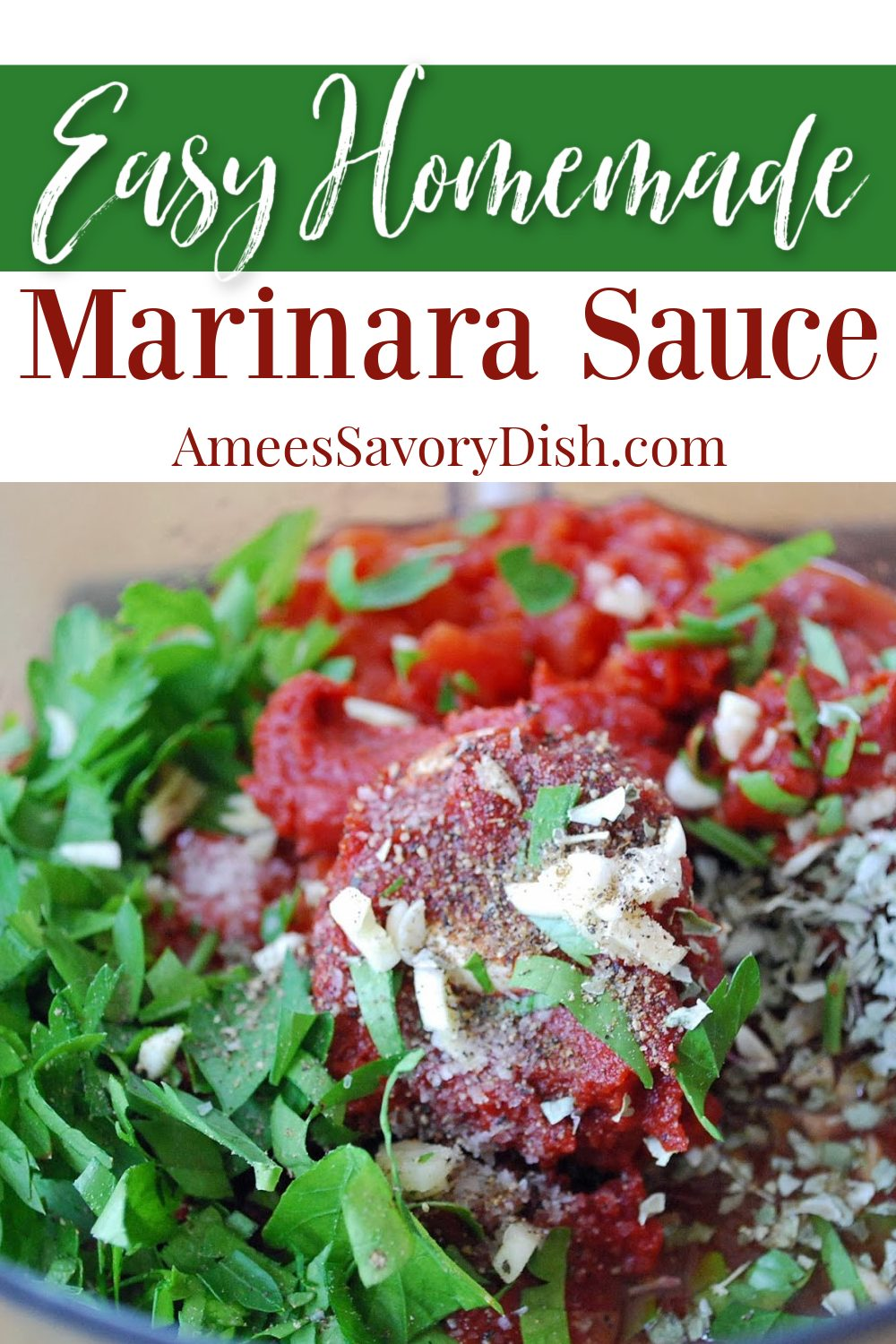 This is a simple and delicious recipe for homemade marinara sauce using canned tomatoes, onions, olive oil, red wine, chicken broth, fresh herbs, and spices. #homemademarinara #pastasauce #easymarinara #marinara #easyItalian via @Ameessavorydish
