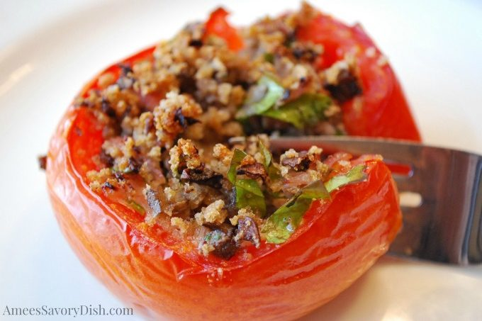 Project Vintage Recipes May recipe- Baked Stuffed Tomatoes