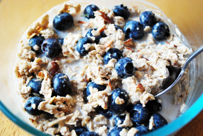 The Best Overnight muesli otherwise known as swiss oats with fruit.