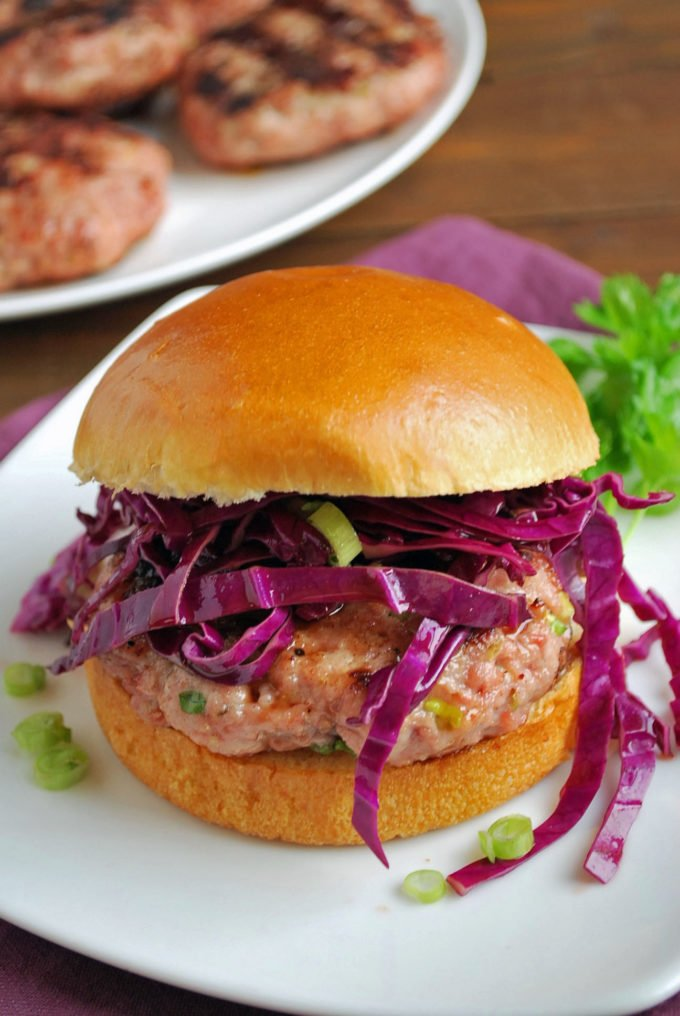 Grilled Asian-Style Pork Burger on a plate