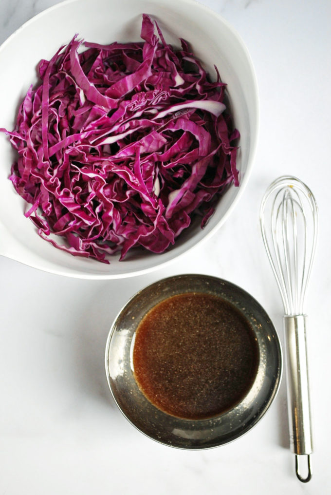 Red cabbage slaw for Asian-style Pork Burgers
