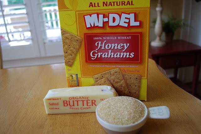 Ingredients needed for homemade graham cracker crust
