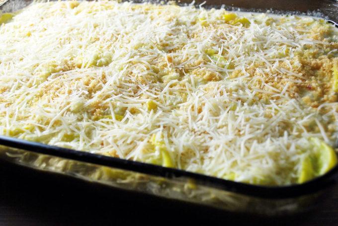Squash Cauliflower Rice Casserole before baking